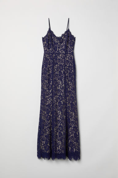 Long lace dress - Dark blue - Ladies | H&M
