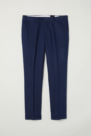 Cropped suit trousers Slim fit - Dark blue marl -  | H&M