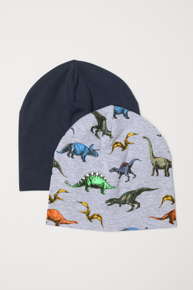2-pack jersey hats - Light grey marl/Dinosaurs - Kids | H&M CN