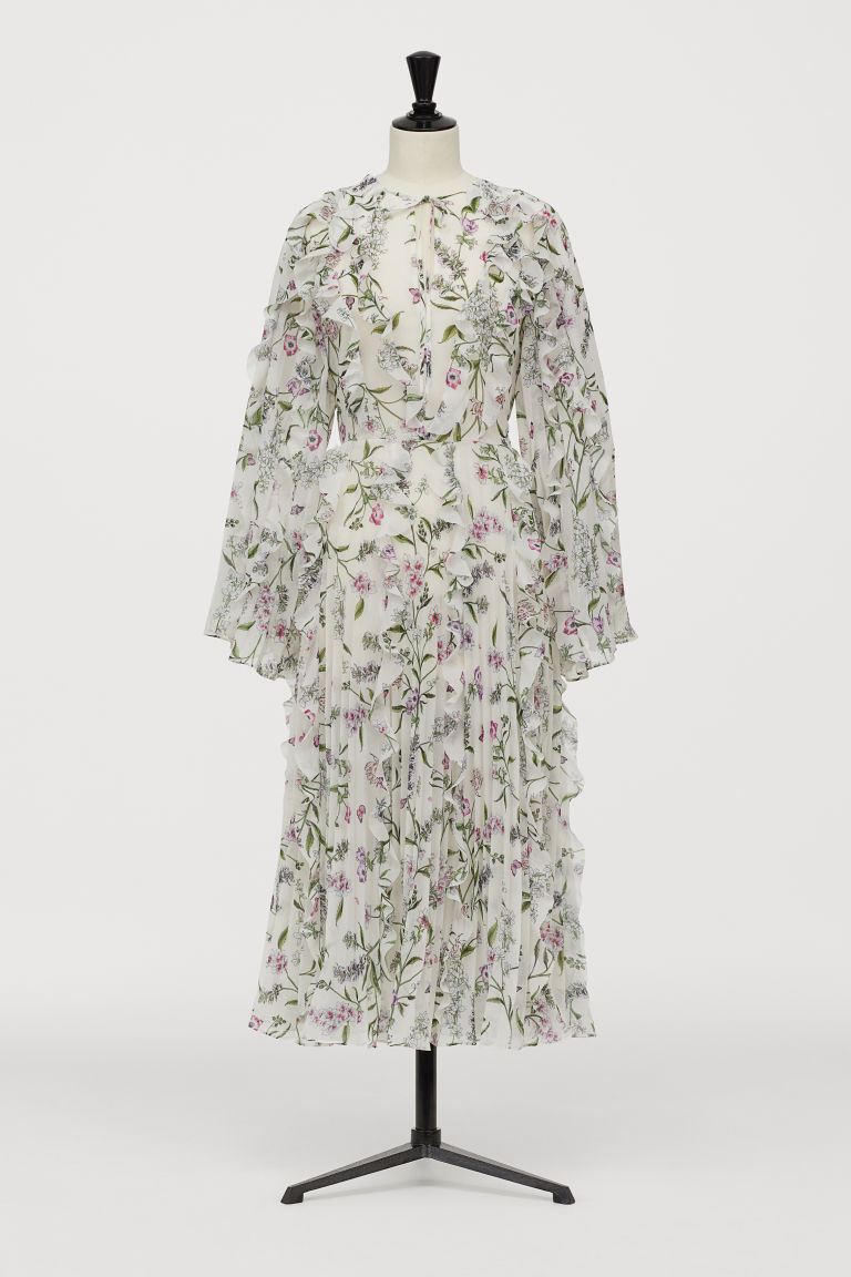 Chiffon dress - Cream/Floral - Ladies | H&M