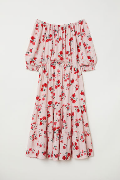 Off-the-shoulderjurk - Oudroze/bloemen - DAMES | H&M BE