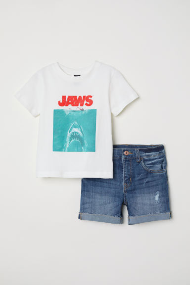T-shirt and denim shorts - White/Jaws - Kids | H&M CN