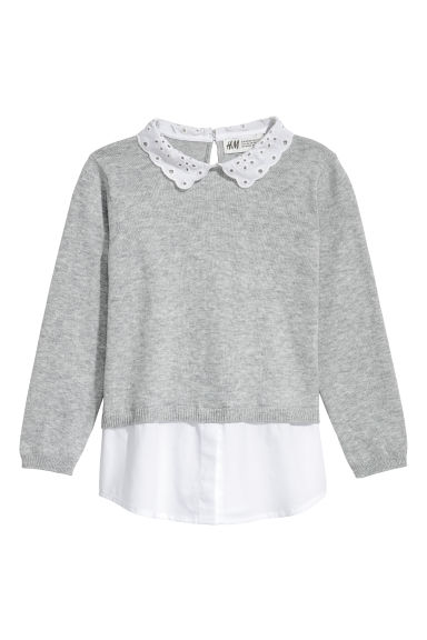 Jumper with a collar - Light grey -  | H&M