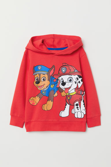 Printed hooded top - Red/Paw Patrol - Kids | H&M CN