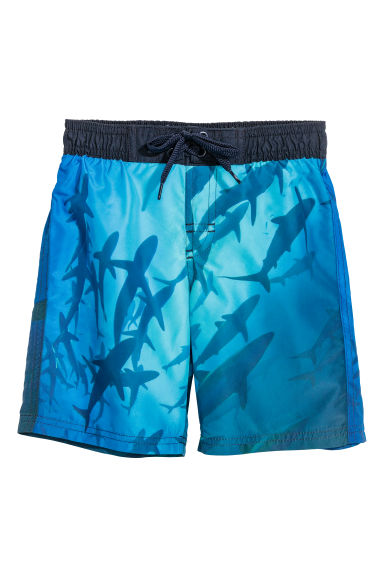 Patterned swim shorts - Blue/Sharks - Kids | H&M