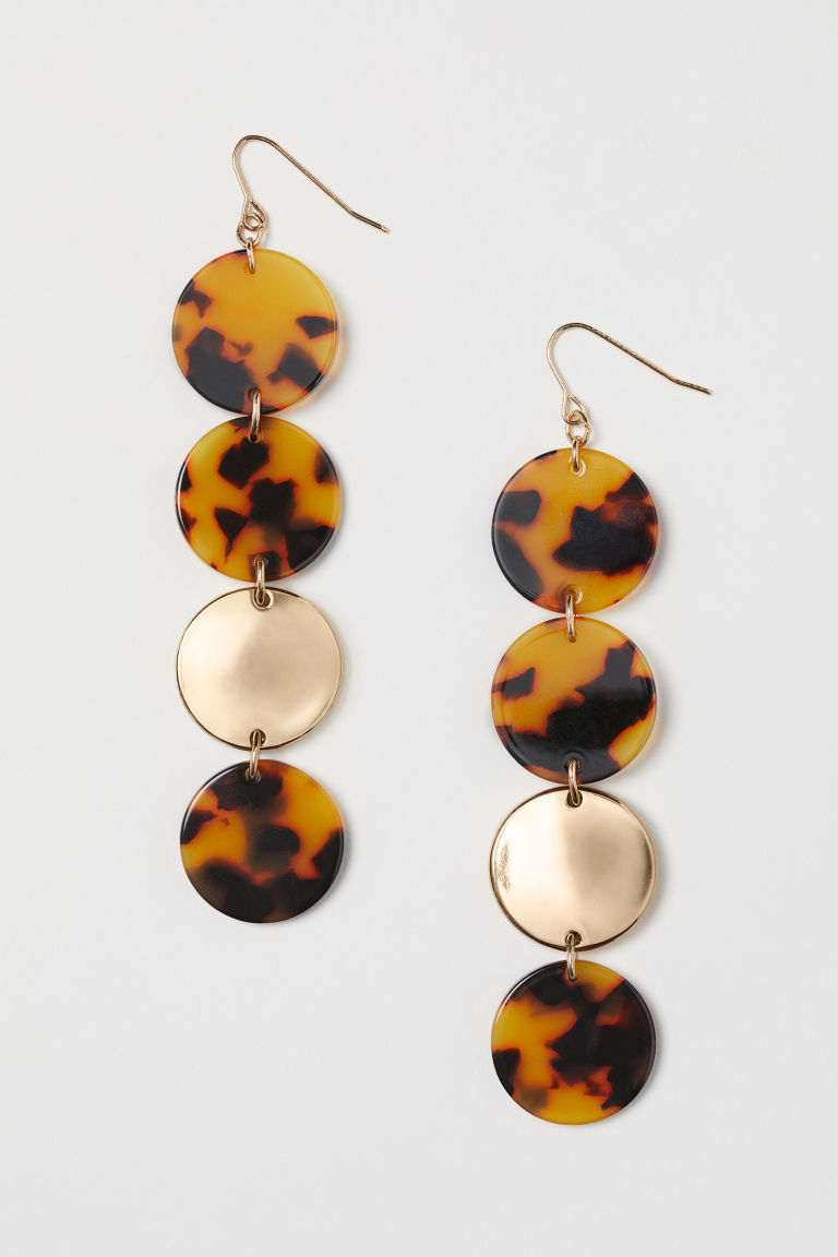 Long earrings - Gold-colour/Tortoiseshell patt - Ladies | H&M IE