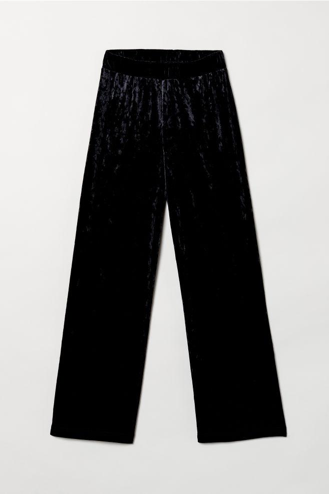 9eb2d00bf4 Pantalón amplio sin cierre - Negro Terciopelo - MUJER