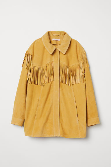 Suede jacket with fringing - Light yellow - Ladies | H&M CN