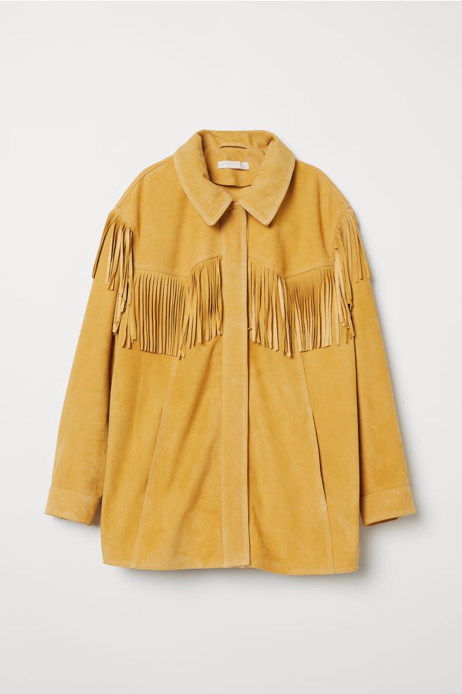 09192faf Semsket jakke med frynser - Lys gul - DAME | H&M ...
