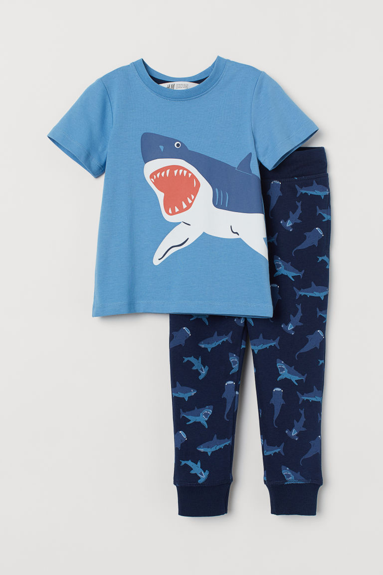 T-shirt and joggers - Blue/Shark - Kids | H&M CN