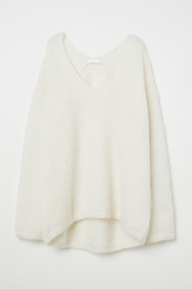 Knitted mohair-blend jumper - White - Ladies | H&M CN