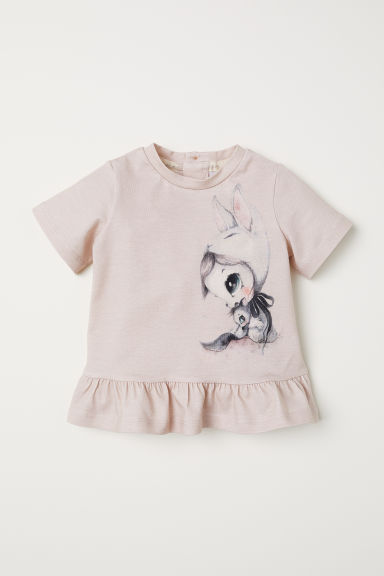 Flounced, printed top - Powder pink - Kids | H&M IN
