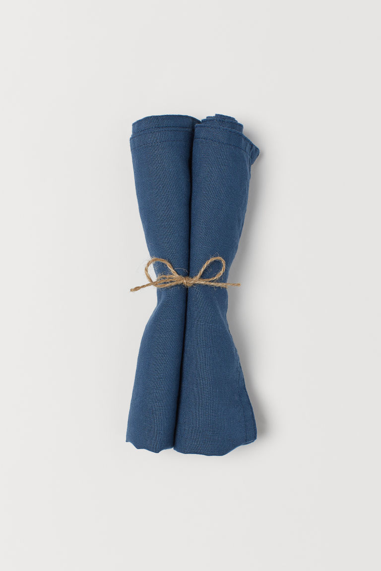 2-pack linen napkins - Dark blue - Home All | H&M GB