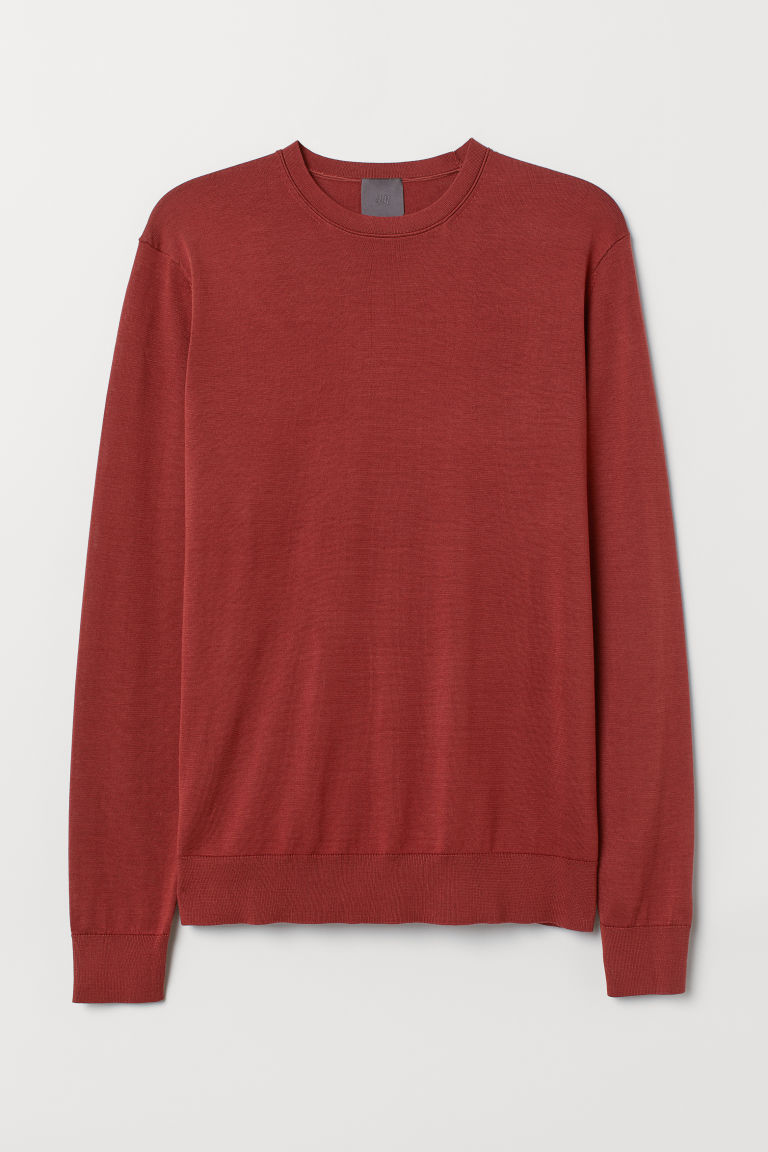 Silk-blend jumper - Rust brown - Men | H&M