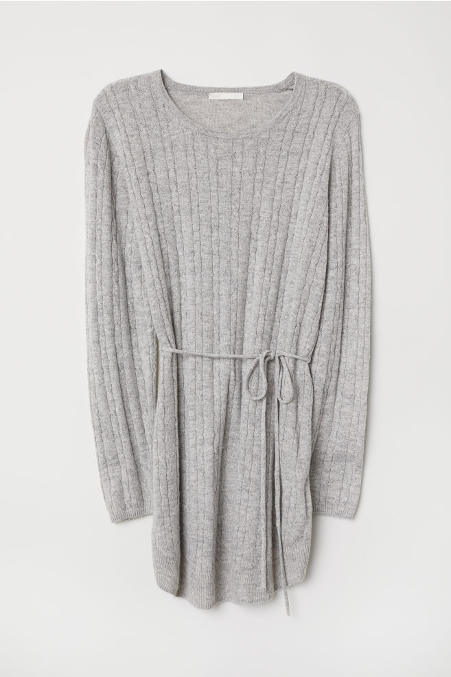 f68b593a0 MAMA Cable-knit jumper - Light grey marl - Ladies