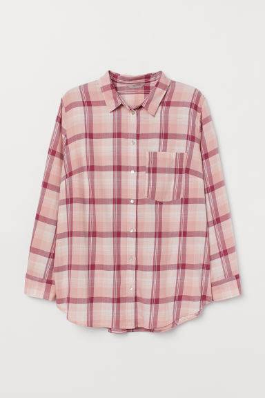 H&M+ Checked shirt - Pink/Checked - Ladies | H&M
