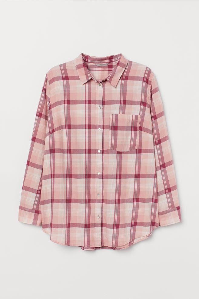 fa8f6356 H&M+ Checked shirt - Pink/Checked - Ladies | H&M 1