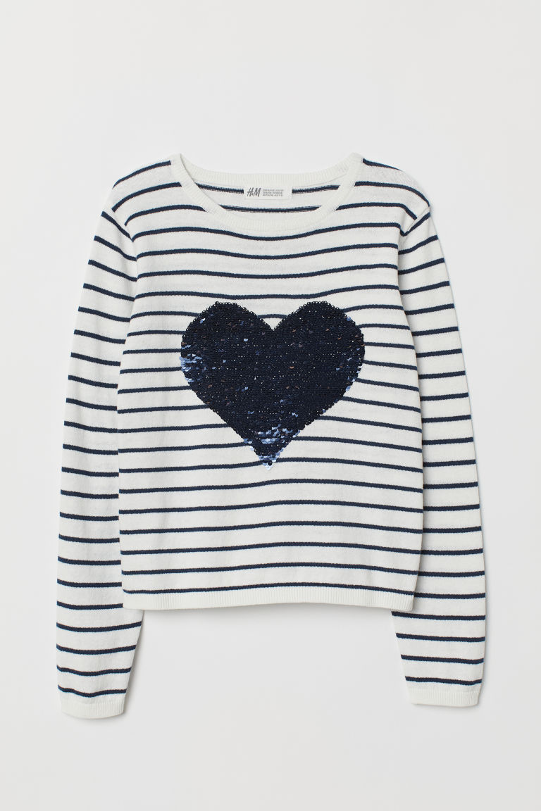 Jumper with reversible sequins - White/Heart -  | H&M CN