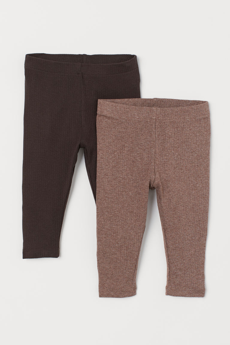 2-pack Leggings - Brown melange/dark brown -  | H&M US