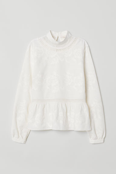 Cotton blouse with lace - Cream -  | H&M