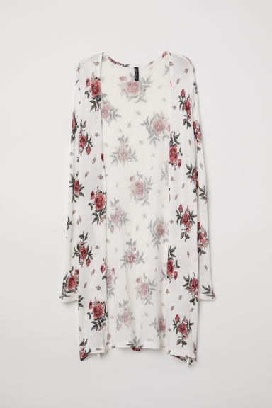 Patterned cardigan - White/Floral - Ladies | H&M CN