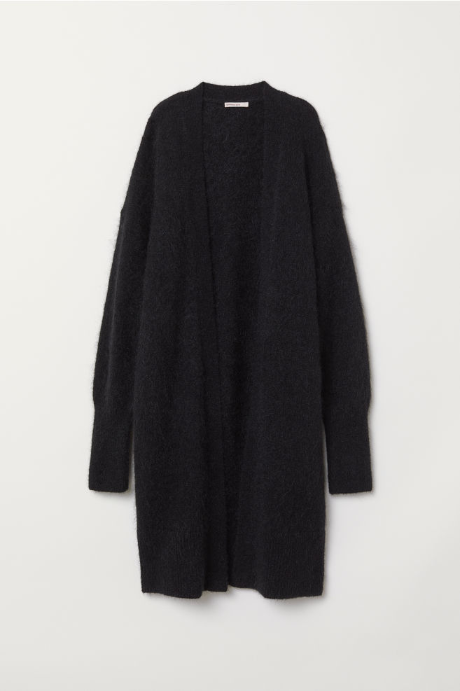 49ed07ce5c7c Long wool-blend cardigan - Black - Ladies | H&M ...