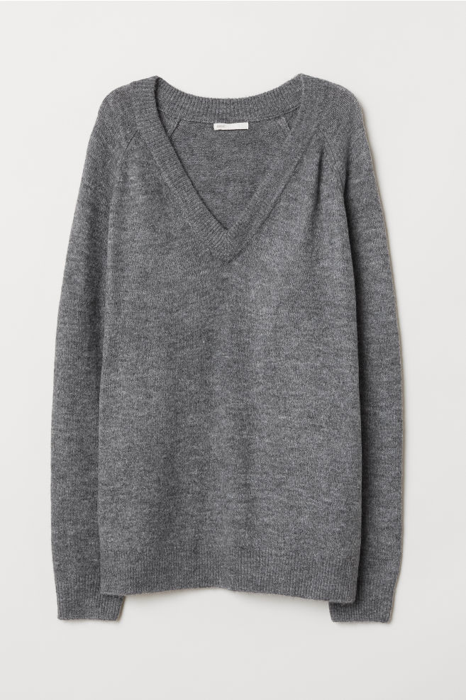 450d55ae66f60e V-neck jumper - Grey marl - Ladies | H&M ...