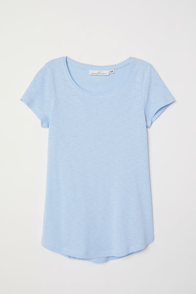 Short-sleeved Jersey Top - Light blue - Ladies | H&M CA
