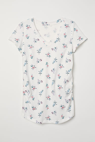 MAMA V-neck top - White/Floral - Ladies | H&M CN