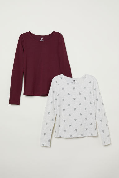 2-pack jersey tops - Burgundy/Hearts - Kids | H&M