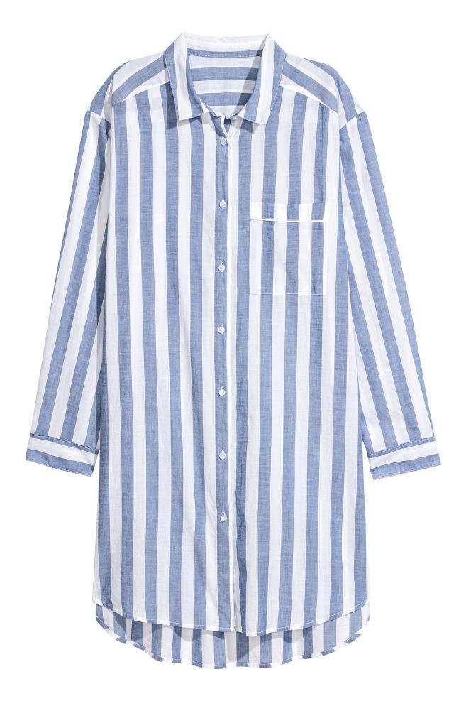 ff8188ad Nattskjorte i bomull - Lys blå/Stripet - DAME | H&M ...