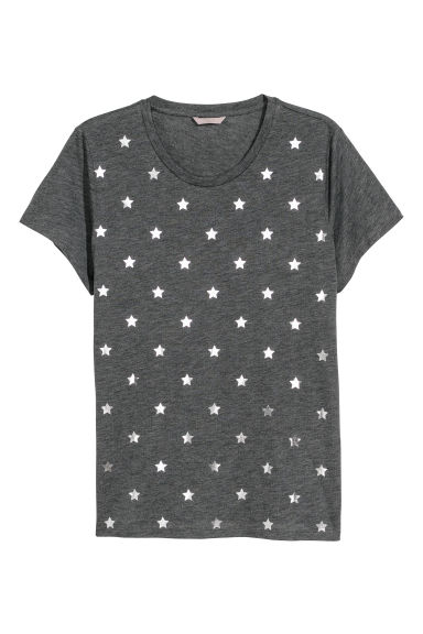 H&M+ Printed jersey top - Grey/Silver stars -  | H&M