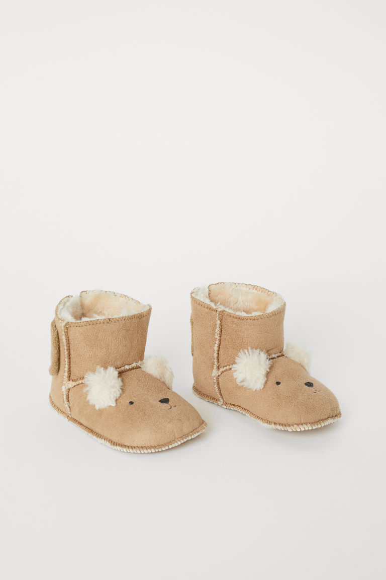 Pile-lined slippers - Beige/Bear - Kids | H&M