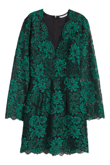 Lace V-neck dress - Green -  | H&M CN