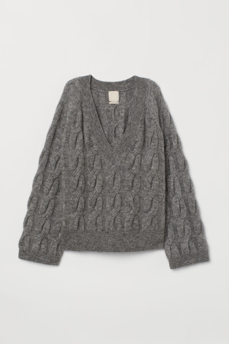 Cable-knit wool-blend jumper - Grey marl - Ladies | H&M