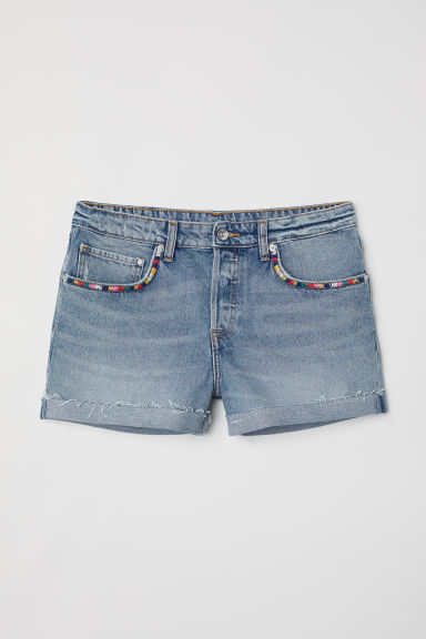 Denim shorts Boyfriend - Denim blue/Embroidery - Ladies | H&M