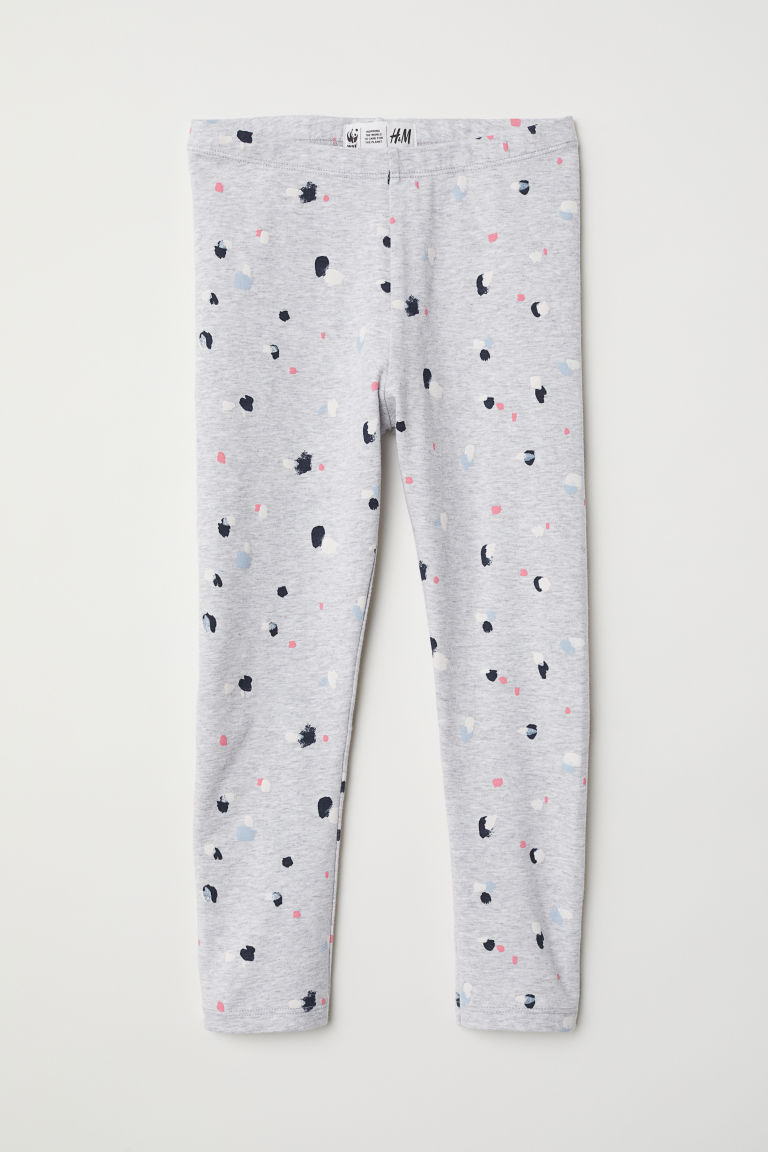 Patterned leggings - Light grey marl/Patterned -  | H&M
