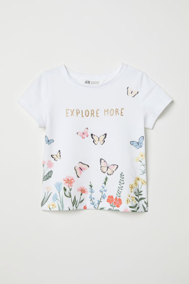 Printed T-shirt - White/Butterflies - Kids | H&M
