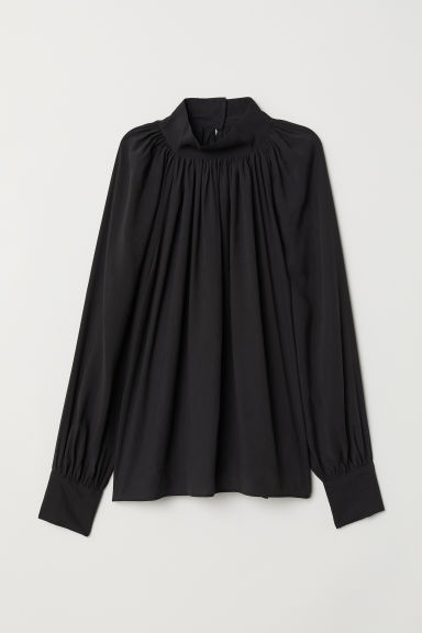 Balloon-sleeved blouse - Black - Ladies | H&M GB