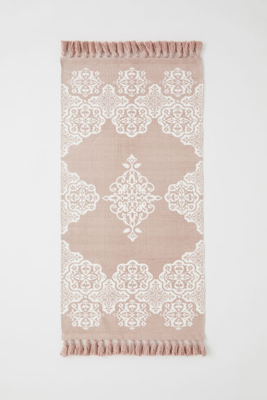 Patterned cotton rug - Powder pink/White patterned - Home All | H&M CN