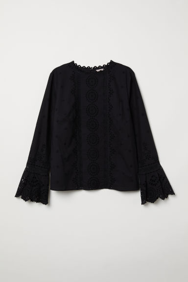 H&M+ Long-sleeved blouse - Black - Ladies | H&M
