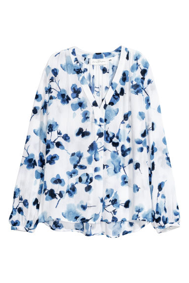 Patterned blouse - White/Blue patterned - Ladies | H&M CN