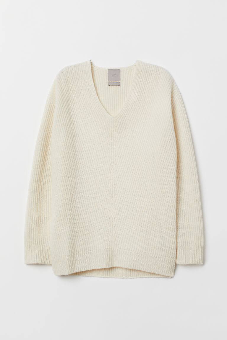 V-neck cashmere jumper - Natural white - Ladies | H&M