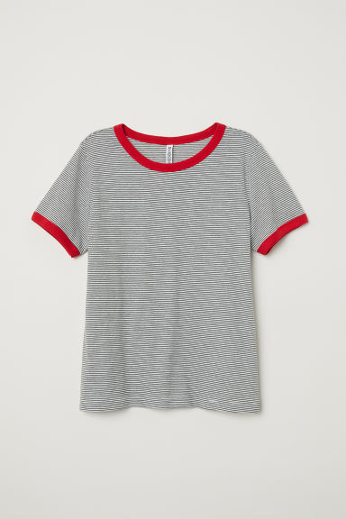 Short T-shirt - White/Grey striped -  | H&M CN