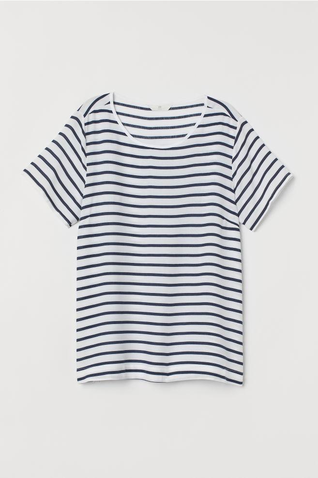 b55db481af1886 ... Short-sleeved Blouse - Dark blue/white striped - Ladies | H&M ...