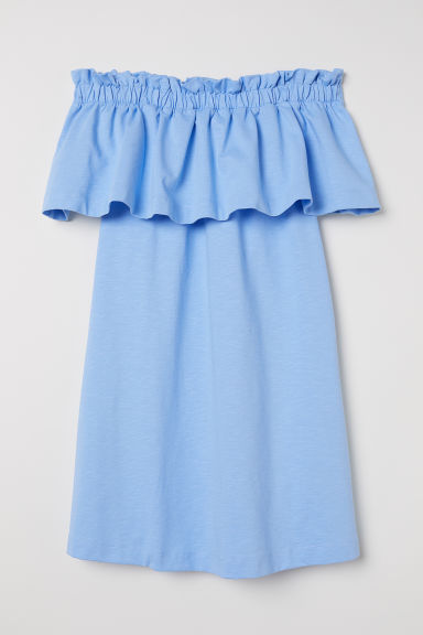 Off-the-shoulder dress - Light blue - Ladies | H&M CN