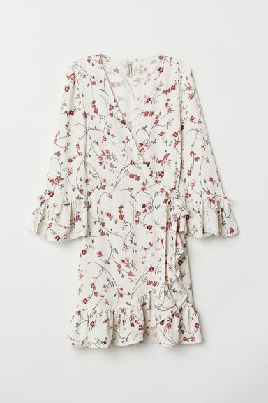 Patterned wrap dress - Natural white/Floral -  | H&M