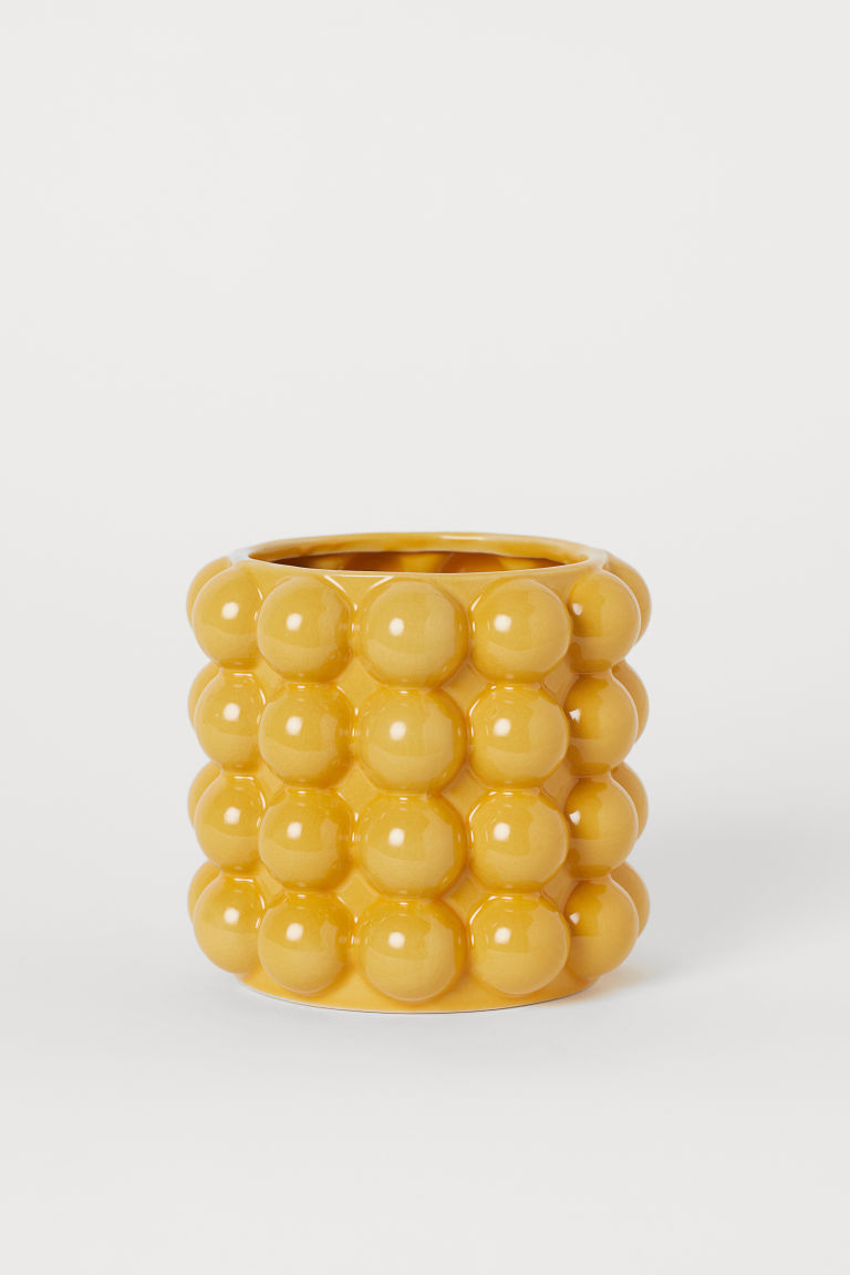 Small bubbled plant pot - Mustard yellow - Home All | H&M GB