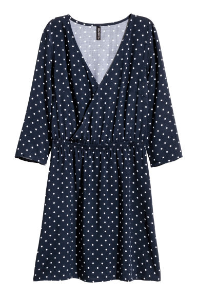 V-neck dress - Dark blue/Spotted -  | H&M