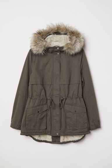 H&M+ Pile-lined parka - Khaki green - Ladies | H&M